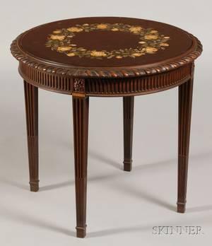 Italian Pietra Dura and Mahogany Center Table