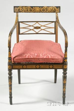English Regency Black Painted and Parcel Gilt Caned Seat Open Armchair