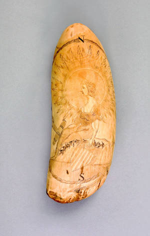 Important American scrimshaw whale tooth dated 1857