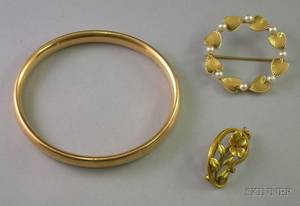 14kt Gold Bangle Krementz 14kt Gold and Pearl Brooch and a Small 14kt Gold Pin