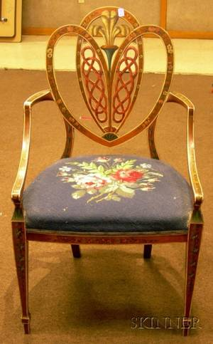 Neoclassicalstyle Polychrome Paintdecorated Maple Armchair