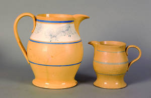 Two yelloware pitchers 19th c
