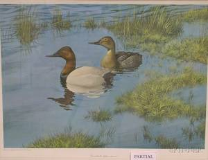 Lot of Two Offset Prints by Robert Verity Clem American b 1933 Canvasbacks