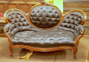 Sixpiece Victorian Horsehair Upholstered Carved Walnut Parlor Set