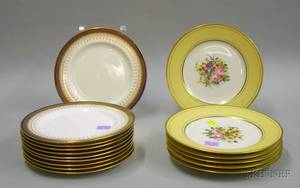 Set of Ten Royal Doulton Porcelain Plates and a Set of Six French Handpainted Porcelain Plates