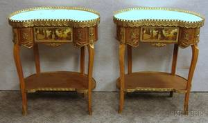 Pair of Louis XV Style Giltmetal Mounted Marbletop Inlaid Beechwood and Veneered Kidneyshaped OneDrawer Stands