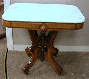 Victorian Renaissance Revival Marbletop Carved Walnut Occasional Table
