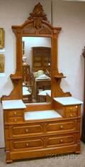 Victorian Renaissance Revival Marbletop Carved Walnut Dropwell Mirrored Dresser