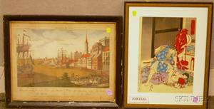 Lot of Four Framed Mixed Media Works on Paper