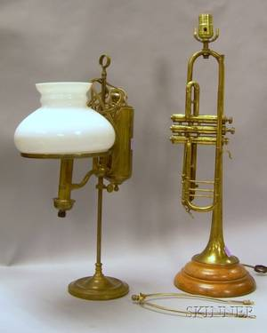 Brass Student Lamp with Milk Glass Shade and a Brass Trumpet Converted to a Table Lamp