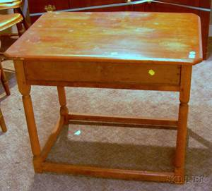 Redpainted Pine and Maple Tavern Table with Drawer