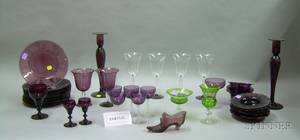 Large Group of Mostly Amethyst and Colorless Glass Stem and Tableware