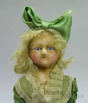 Early Wax Over PapierMache Shoulder Head Doll