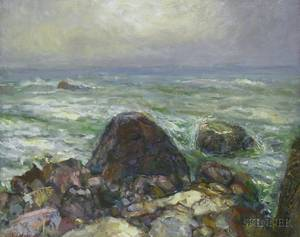 Framed Oil on Canvas View of a Rocky Coast Attributed to Vladimir Lebedev RussianAmerican 19101999