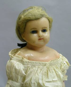 Tinted Wax Turned Shoulder Head Doll