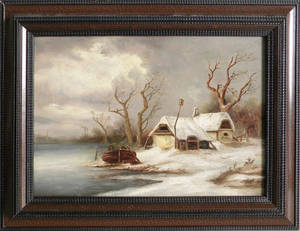 Oil on canvas winter landscape