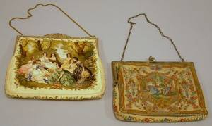 Vintage Embroidered Silk Purse and a Wool Petit Point Purse