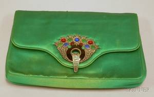 Art Deco Green Silk Satin Clutch with Cartierstyle Enamel and Marcasite Clasp