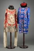 Two Embroidered Chinese Silk Robes a Tunic and Two Hats
