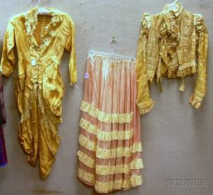 Victorian Gold Brocade Silk and Lace Bodice an Edwardian Silk Bodice and a Satin and Lace Petticoat