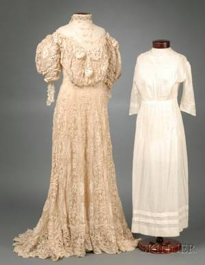 Edwardian Cotton and Silk Lace and Embroidered Dress and a 1920s Cotton Day Dress