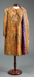 Vintage Bergdorf Goodman Paisley Silk Brocade Coat and Dress Suite