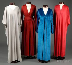 Three Halston IV Jersey and Ultra Suede Caftan Dresses and a Halston IV Wrap Dress