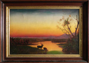 American oil on canvas sunset landscape