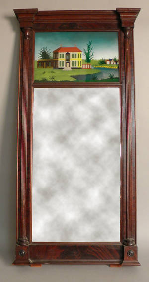 Late Federal mahogany looking glass