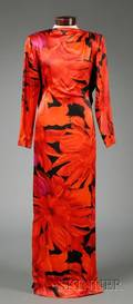 Bill Blass Red and Black Floral Silk Long Sleeve Gown