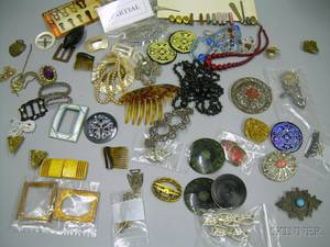 Large Group of Art Nouveau and Art Deco Estate and Costume Jewelry and Accessories