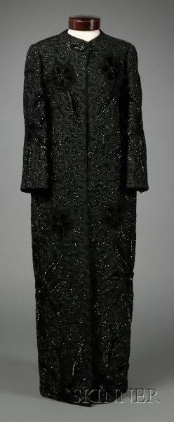 Pedro Rodriguez Black Silk Velvet and Sequin Evening Coat