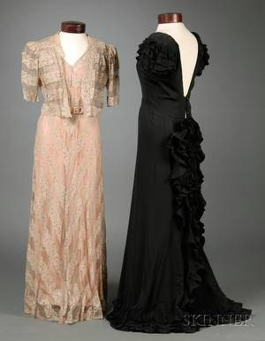 Vintage 1940s Black Silk Evening Dress