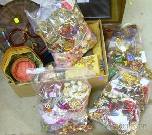 Four Bags of Assorted Vintage and Modern Costume Jewelry and a Box of Assorted Items