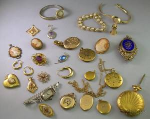 Small Group of Assorted Gold Goldfilled and Silver Estate Jewelry
