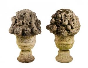 Pair of Finely Carved Stone Garden Ornaments