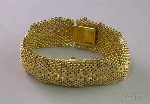 Ladys 14kt Gold Mesh Bracelet Wristwatch