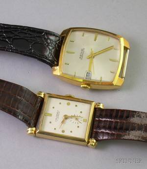 18kt Yellow Gold Swiss 25jewel Automatic Mans Wristwatch and a Crosby 14kt Gold 17jewel Mans Wristwatch