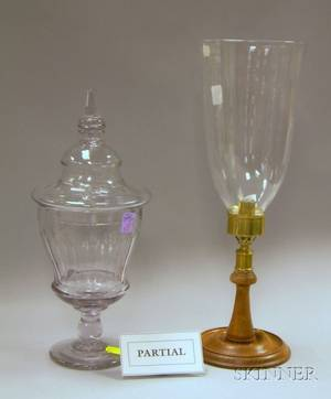 Pair of Colorless Cut Glass Sweet Meat Jars with Covers and a Pair of Brassmounted Turned Mahogany Candle Lamp