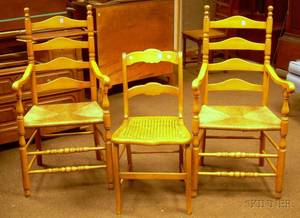 Pair of Colonial Revival Maple Slatback Armchairs and a Caned Maple Side Chair