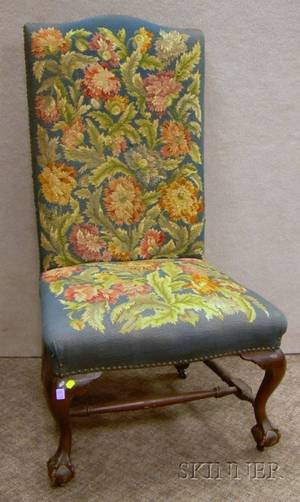 Chippendalestyle Needlepoint Upholstered Highback Carved Mahogany Hall Chair with Claw and Ball Feet
