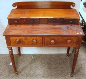 Classical Mahogany and Mahogany Veneer Dressing Table with Ropeturned Legs