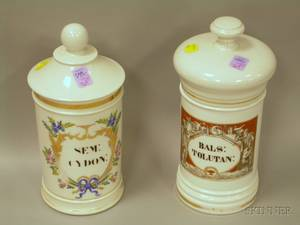 Two French Porcelain Apothecary Jars
