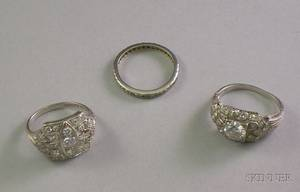 Two Art Deco Platinum and Diamond Rings and a Platinum and Diamond Eternity Band