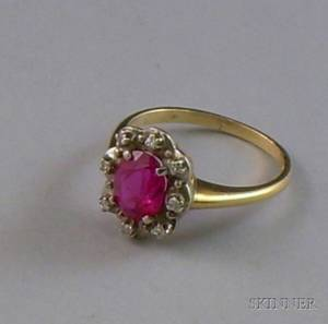 Antique 14kt Gold Synthetic Ruby and Diamond Ring
