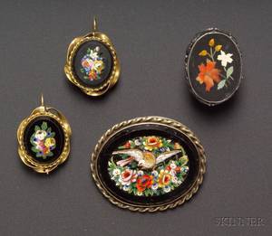 Large Micromosaic Brooch and Pair of Similar Earrings and a Sterling Silver Framed Pietra Dura Ring