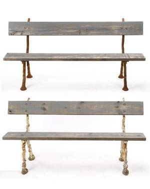 Pair of Wood  Iron Rustic Tree Limb Benches