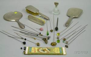 Approximately Thirty Hat Pins and Six Sterling Silver Dresser Items