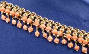 Antique 18kt Gold Coral Bead and Seed Pearl Bracelet