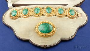 Antique Etruscan Revival Malachite Bracelet and Brooch